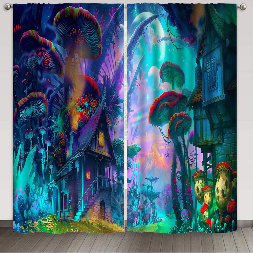 Custom Print Trippy Mushroom Panel Rod Pocket Window Curtain