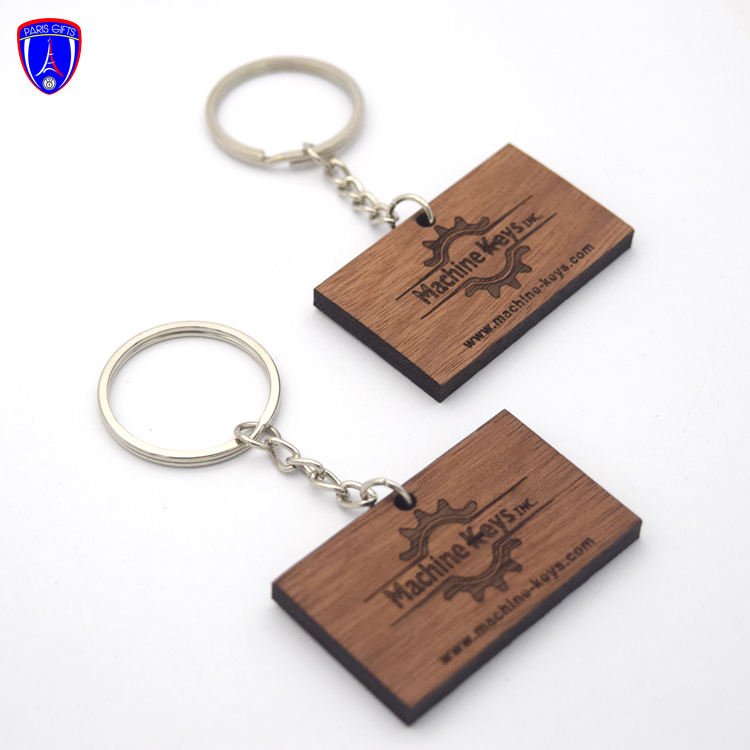 Chinese factory customized laser text logo wood craft keychain holder wooden keychain with name