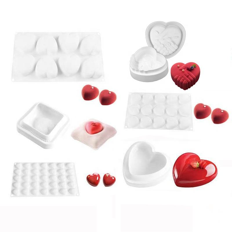 3D Love Cake Decorate Silicone Mold Non-toxic Love Heart Silicone Mousse Cake Molds For Valentine's Day