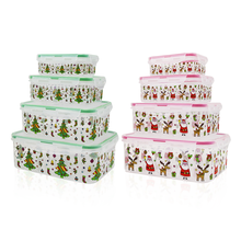 4 piece plastic christmas printing food container set