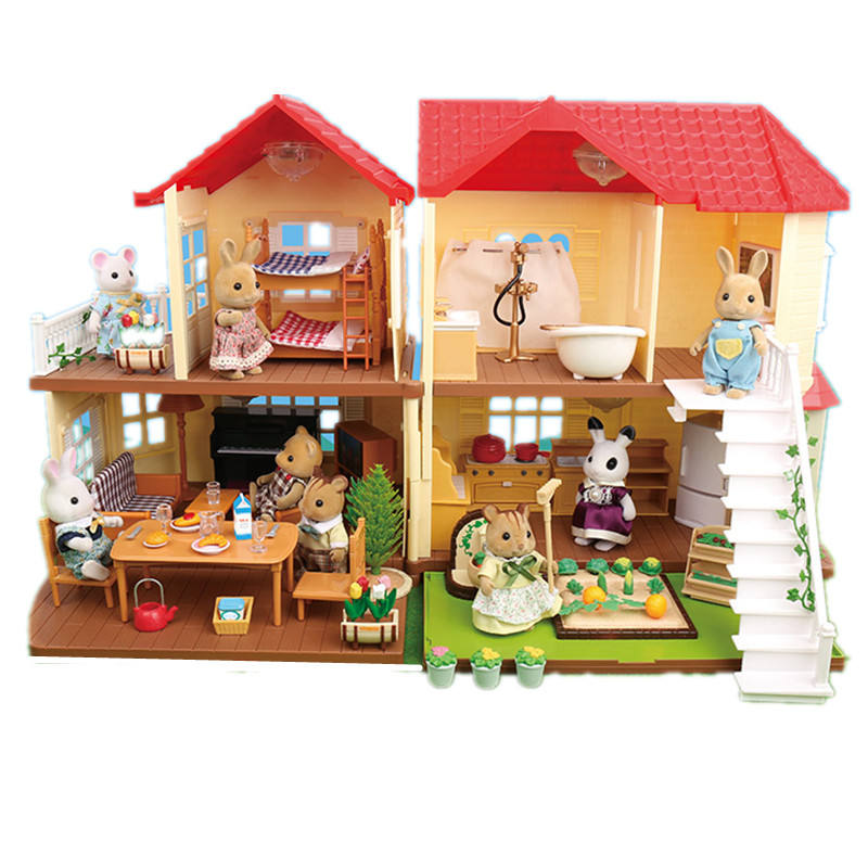Forest Family Big Villa Set Doll House Role Play Toys for Kid Children Pretend Toys PlayHouse