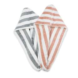 Double layer thickened striped bathing hat absorbent dry hair hat coral velvet