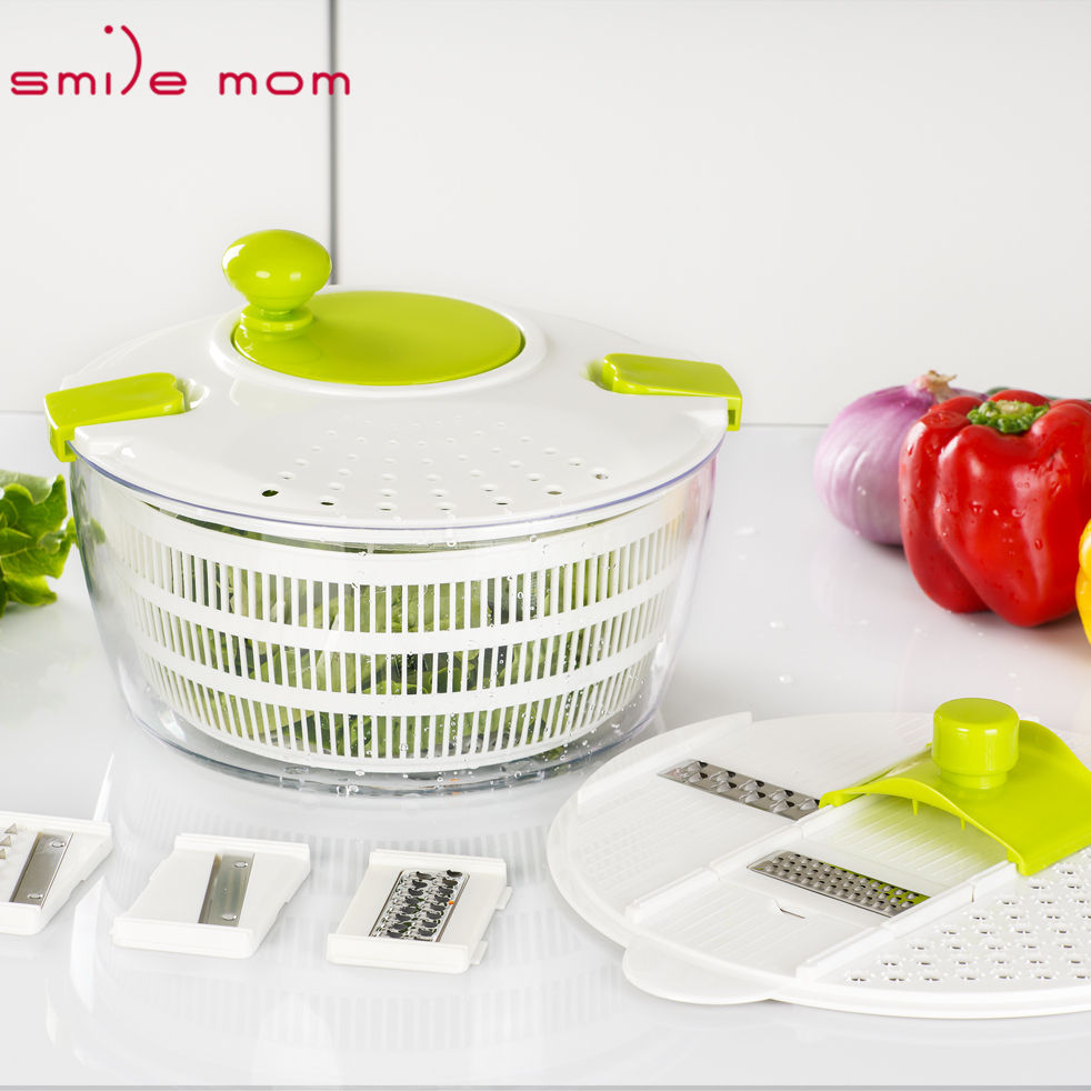 As Seen On Tv New Green Mini Salad Spinner with Multi Grater Slicer