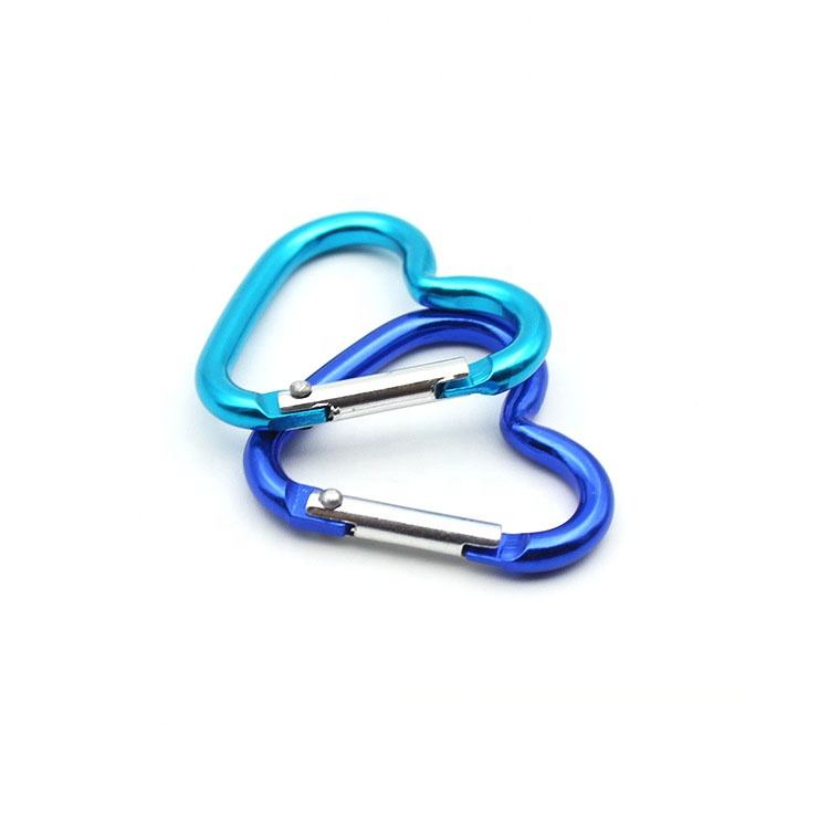 BT-WD25 China manufacturing cheap carabiner hook black heart shape fasion aluminium hook heart shape carabiner