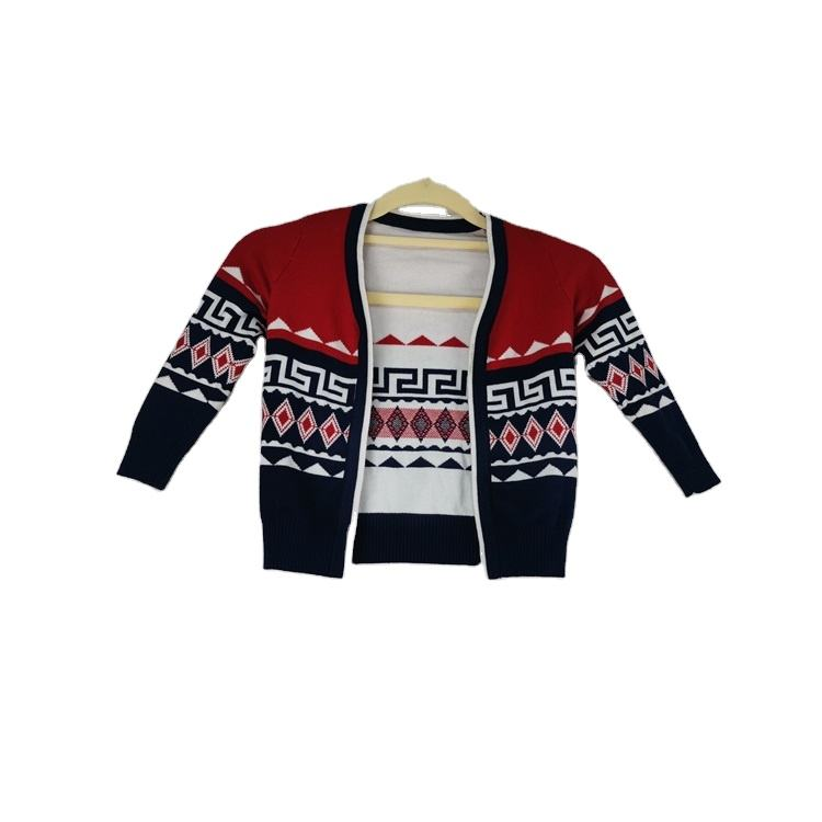 The Latest Design Boy 100% Cotton V-neck Jacquard Pattern Knitted Cardigan Sweater For Children