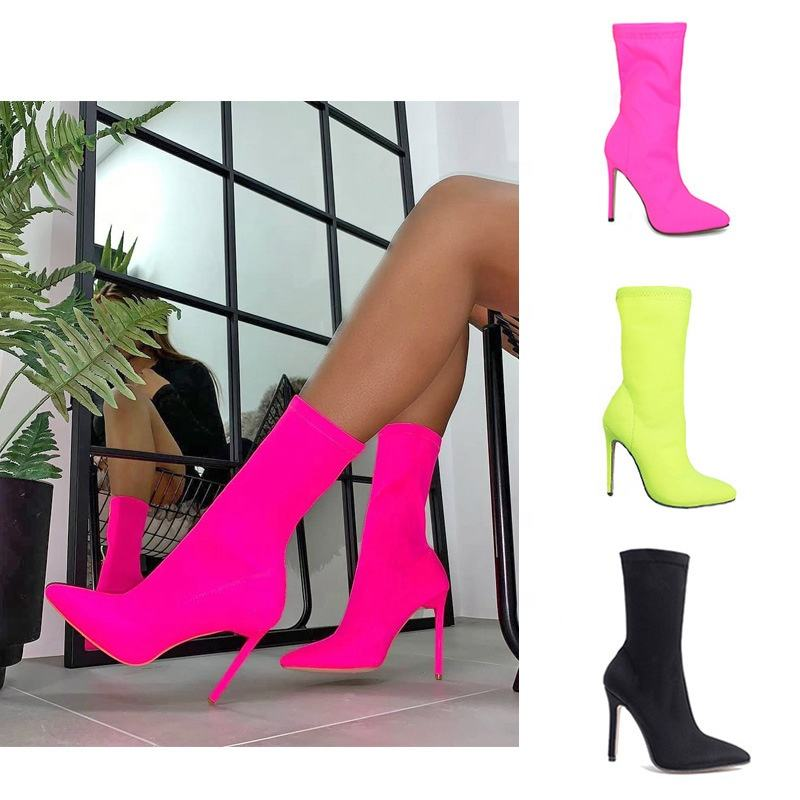 2020 New Fashion Fluorescent suede mid-tube stretch ladies boots neon rose red stiletto heel knight boots women pointed toe supe