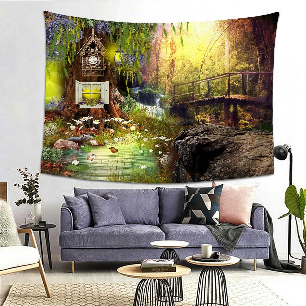 Oil Painting Tapestry Forest Plant Landscape Tapestry Gifts