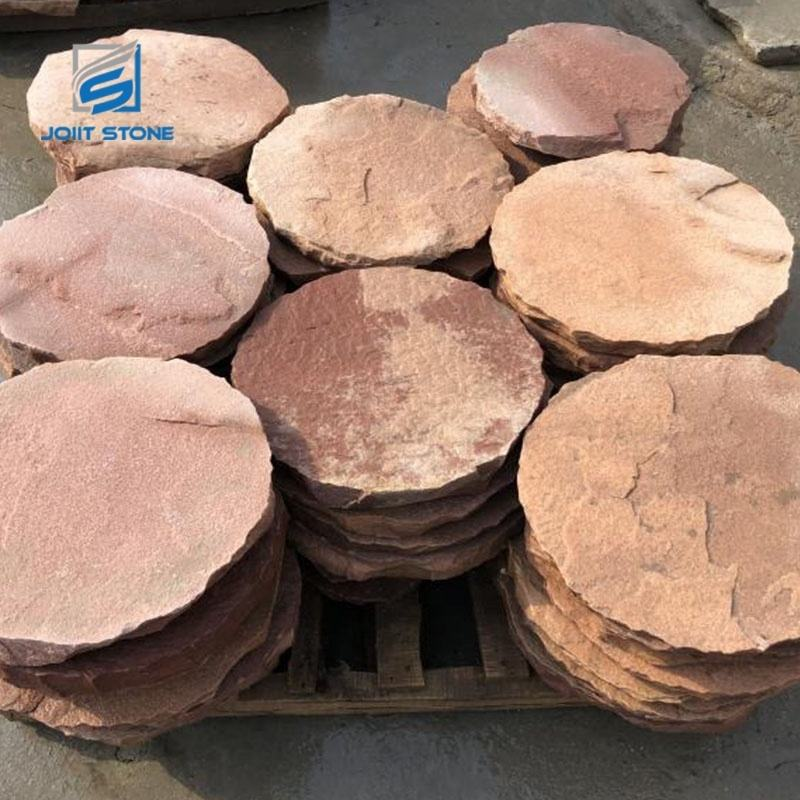 Factory Red Color High Quality Round Shape Natural Stepping Stone