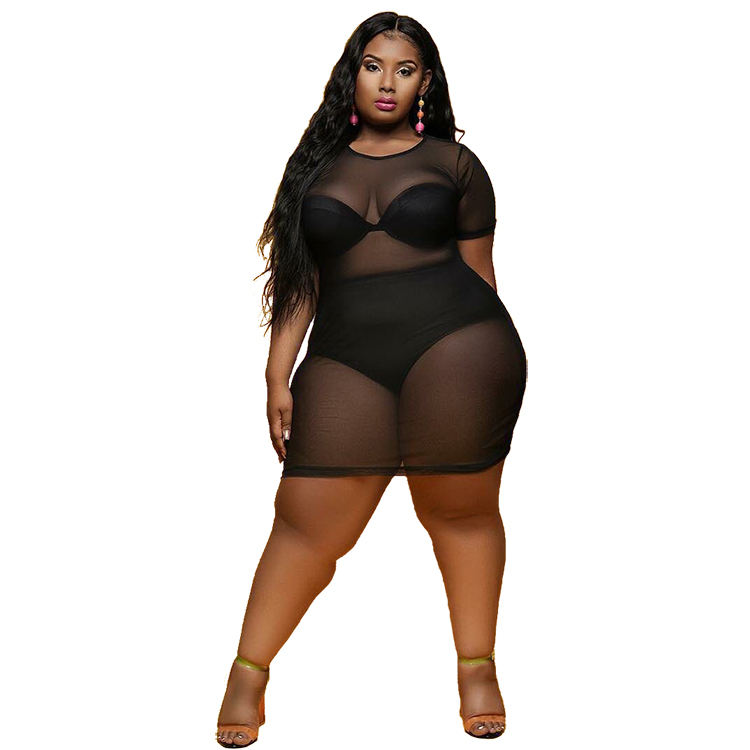 Plus size women clothing sexy one piece o-neck mesh dress sexy