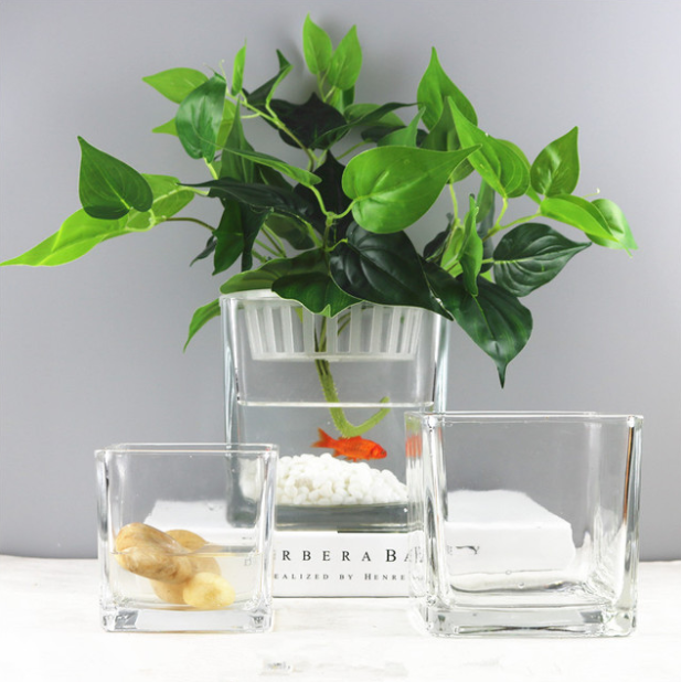 Modern Cylinder Small Square Clear Color Ikebana Vase GlassHome Outdoor Glass Bottle Decorative