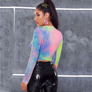 Custom Wholesale Long Sleeve Tie Dye Crop Top Women