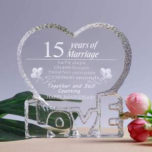 15Th 25Th 50Th K9 Crystal Craft Happy Anniversary Wedding Gifts For Guests