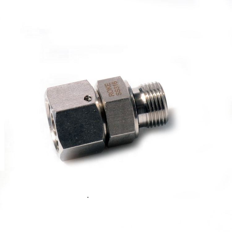 SS316 Stainless Steel Single Ferrule Swivel Connector Bite Type Fitting Hydraulic Compression / DIN2353, ISO8434.1