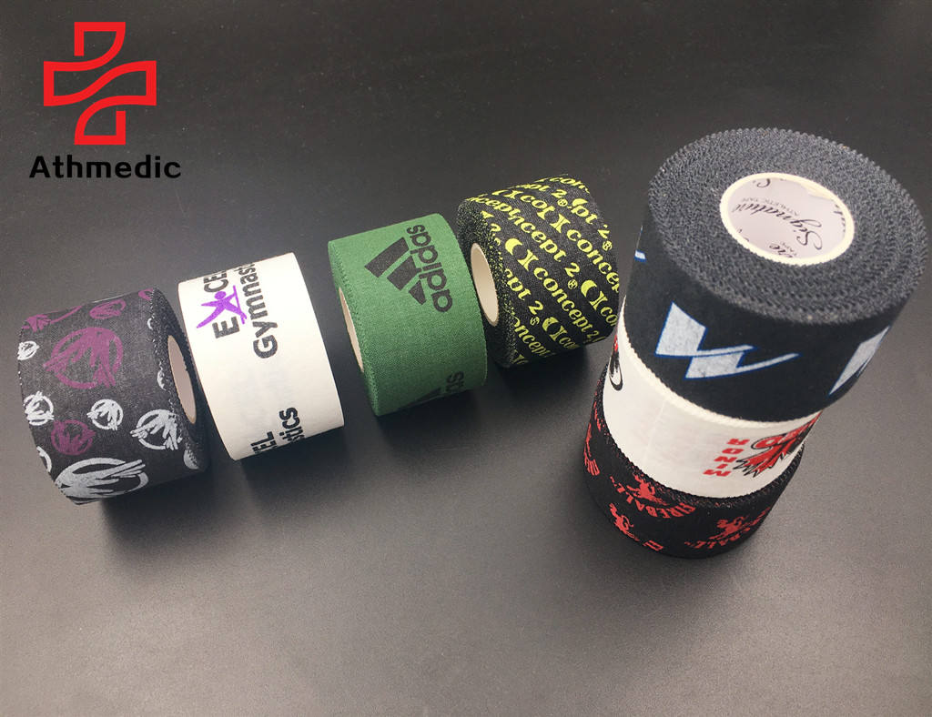 2021 Athmedic hand tear sport cotton printed rigid athletic tape printed rigid sports rigid strapping tape crossfit tape