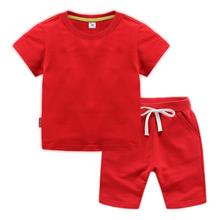 Wholesale 18M-8 years solid color kids clothes children boys 2pcs 100% cotton summer sports casual short sleeve clothing sets