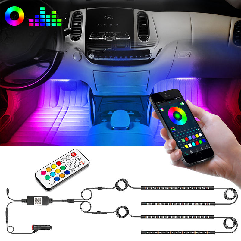 4PCS Multi Color Smartphone APP Control Car Interior Decorative Neon Atmosphere IP67 RGB 5050 Led Strip Light