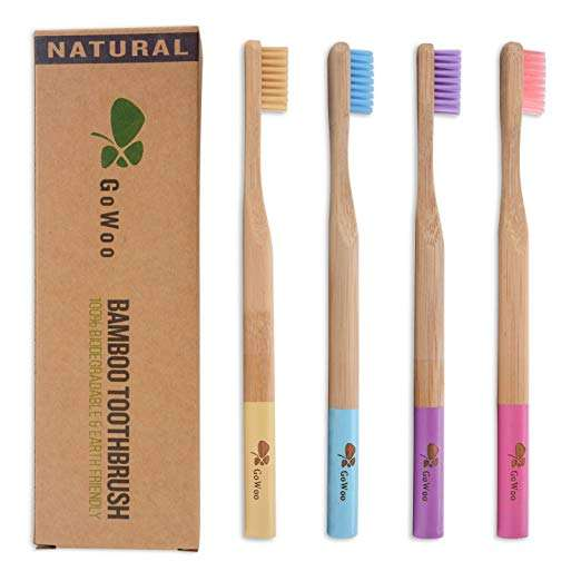 Prepast Black High Quality Wooden Non Plastic Fair Trade Bamboo Toothbrushes