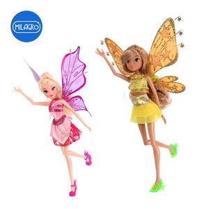 CHACHI Toys mini purple golden butterfly wings fashion clothes accessories beautiful long hair toy fairy doll for girls