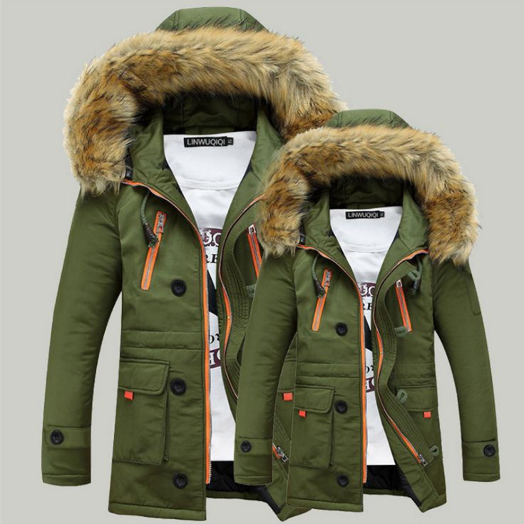 2019 In Stock Warm Fur-collar Windproof Jacket M to 5XL Parka Cotton Padded Men Winter Parka Jacket High Quality