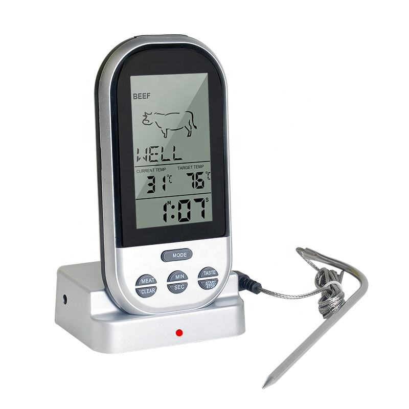 Digital Remote BBQ Food Thermometer with Stainless Steel Probe Wireless Meat Thermometer
