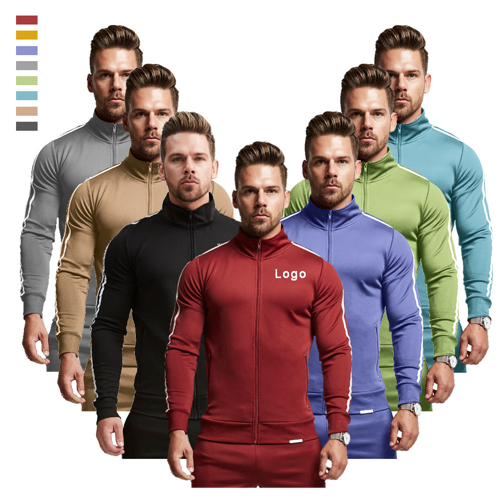 Custom Blank Sportswear Cotton&Polyester Zipper Jackette Mens Jogger Tracksuit For Men