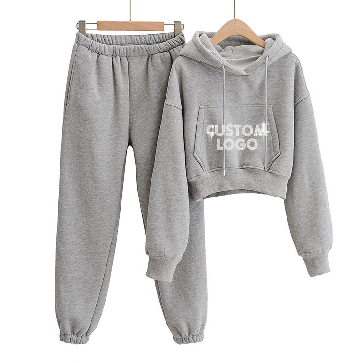 Custom Rhinestone Design High Quality Casual 100% Cotton Women Winter Crop Top Plain Tracksuit