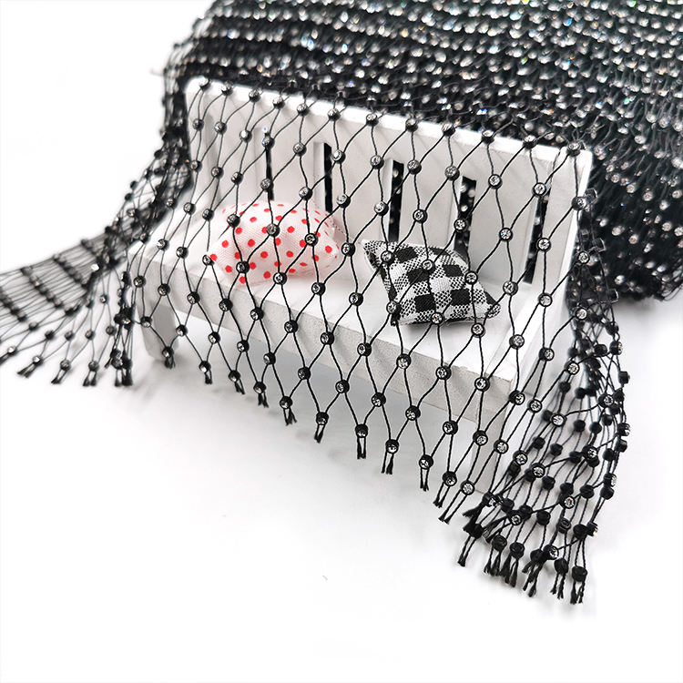 Wholesale bead net Stretch Elastic Mesh ss8 rhinestone stone crystal fishnet for crop top