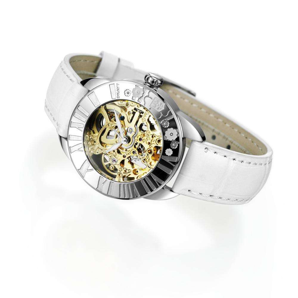 Designer Popular Brands Watches Lady Leather Bands White Wristwatches Women Skeleton Watch Luxury