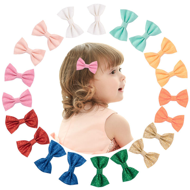 CLARMER Fashion Kids Hair Accessories Wholesale Decorative Solid Glitter Baby Hair Bows For Girls