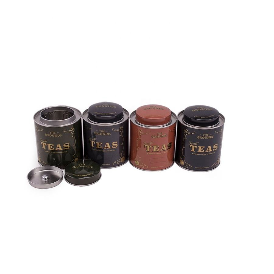 Custom printed round tea metal packing tea gift tin box