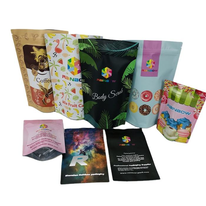 Digital Printing Pouch Aluminum Foil Packaging Bag Childproof Zipper 3.5g 28g Mylar Flower Seeds Spice Food Cookie Foil Pouches
