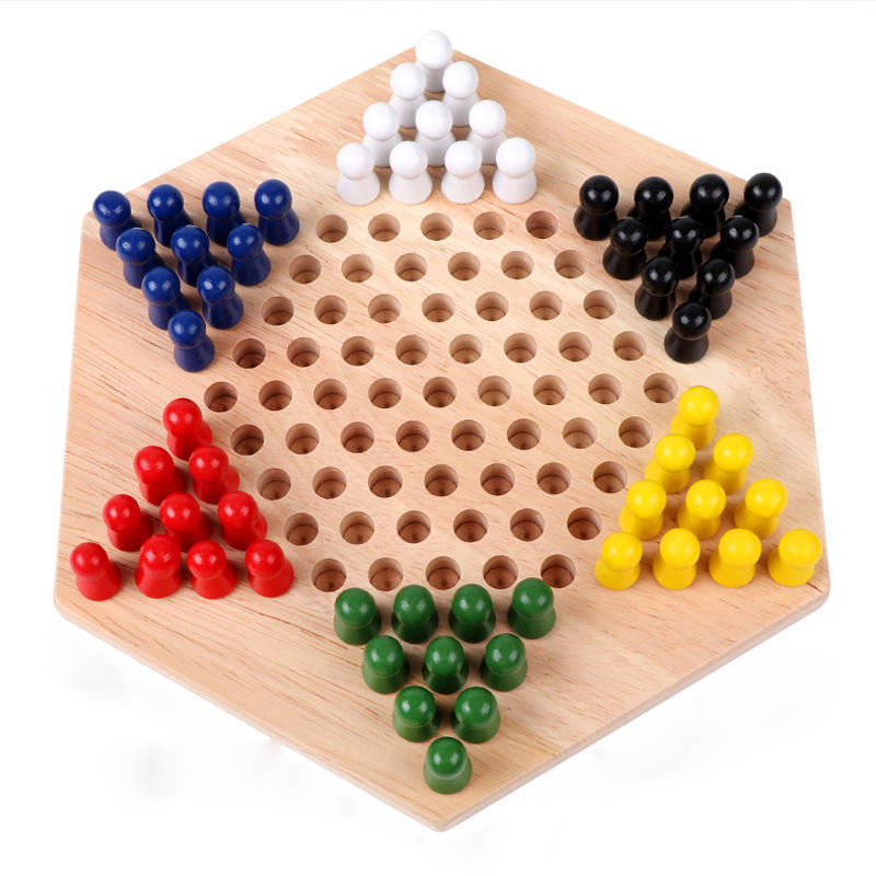 Hexagon Checker Game Set Houten Educatief Board Kids Klassieke Chinese Checkers Set Strategie Familie Spel Stukken Backgammon