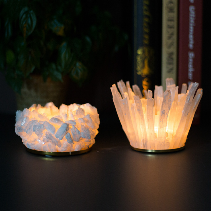 Factory Price Hand Made Natural White Selenite Stunning Crystal Quartz Candle Holder For Home Decoration