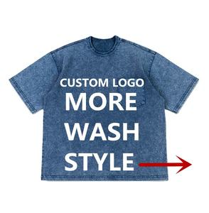 Custom Washed T Shirt Unisex High Quality Vintage T-shirt Cotton Pigment Dye Garment Mineral enzymes Dirty stone washed tshirt