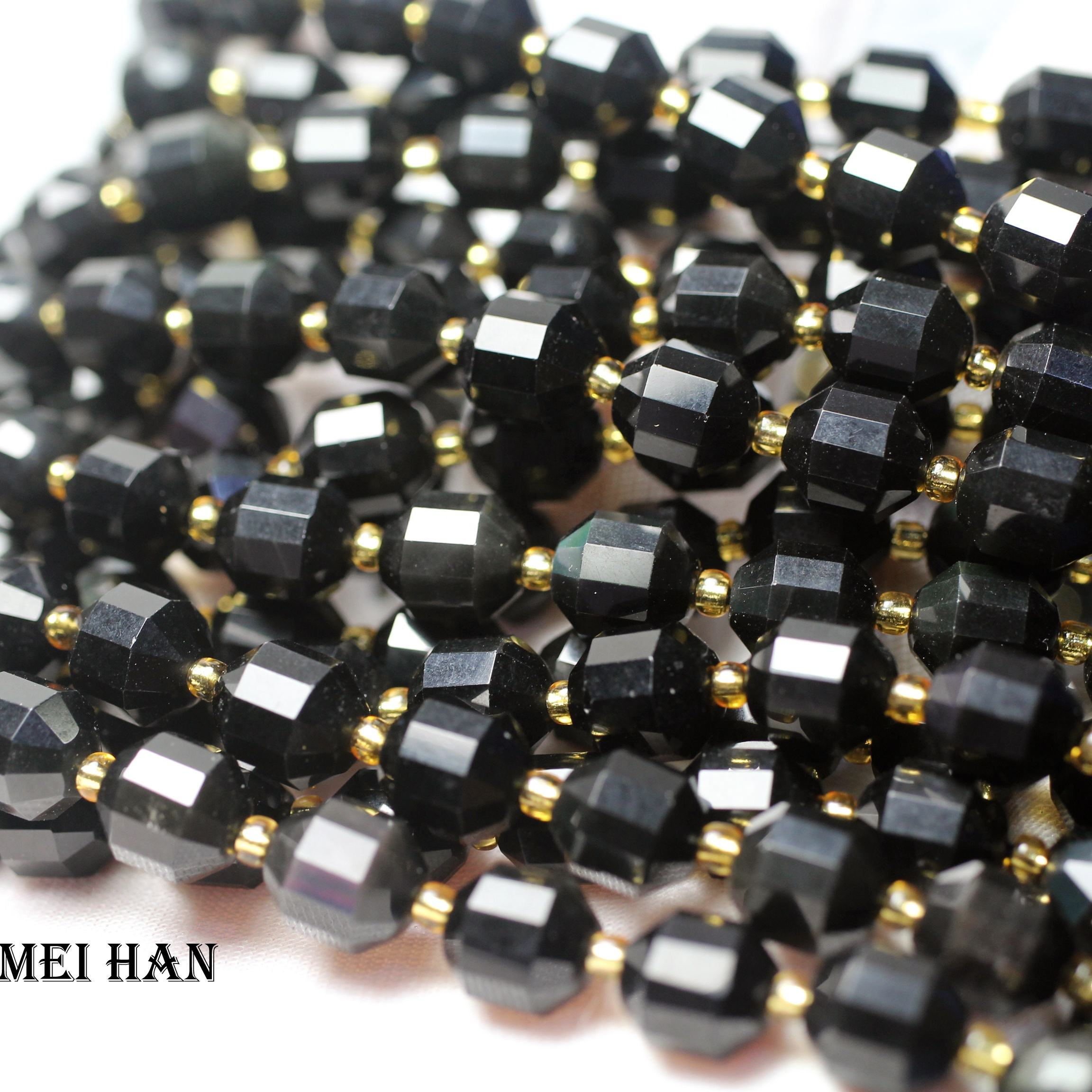 Natural balck obsidian 9*10mm energy column faceted sharp loose beads stone for jewelry making design DIY