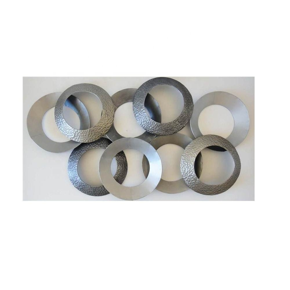 Metal Wall Art Decor Sculpture Grey Linked Circle Disc Abstract Powder Coated Finish Hammered Design Modern Style