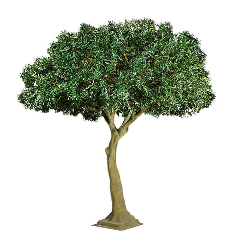 Green Artificial Olive Centrepieces Tree With Curved Trunk For Home Ornamentation