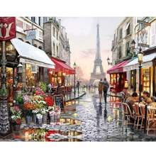 CHENISTORY 99009 Paris Street DIY Painting By Numbers Handpainted Canvas Painting Wall Decorative Art Custom photo