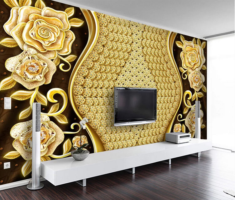 Diamond flower glitter wallpaper golden shine rose 3d wall mural wallpaper home decoration