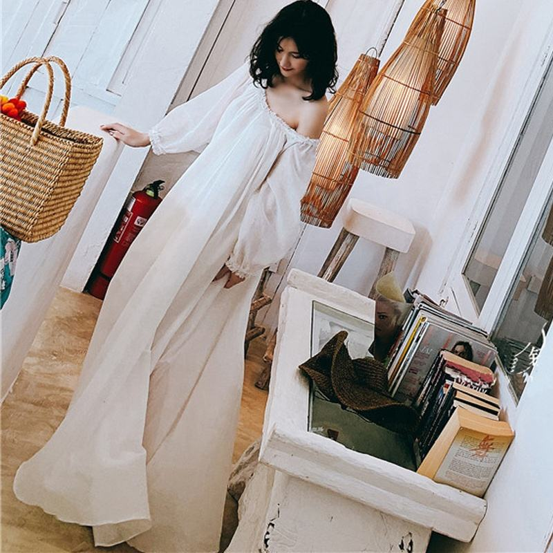 Nightgowns Sleepwear Women High Quality Cotton Long Night Dress Pearl Beads Vintage Loose Nighty Fairy Home Wear