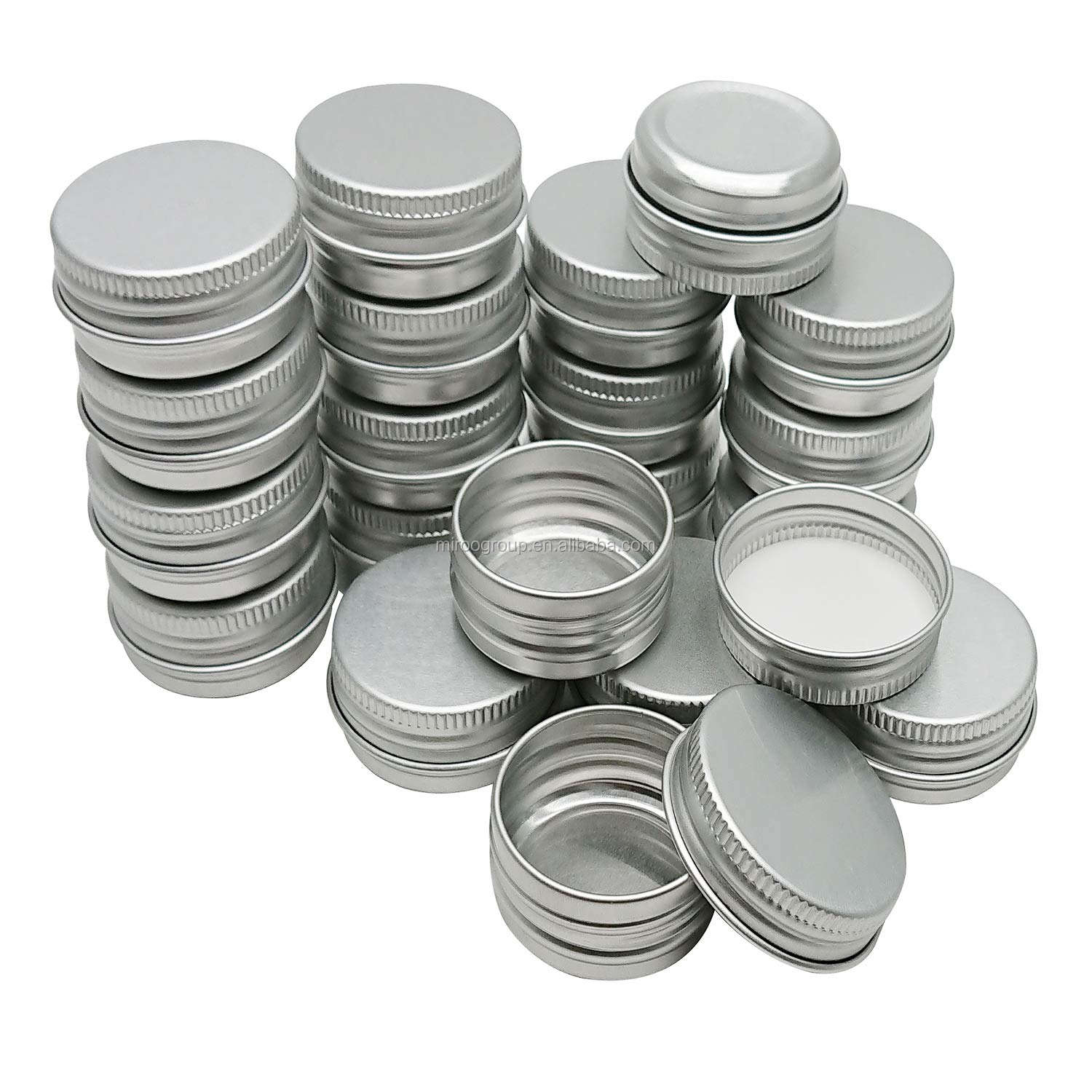 5ml-60ml Silver Aluminum Tins Cans Screw Top Round Steel tins Cans with Screw Lid Containers