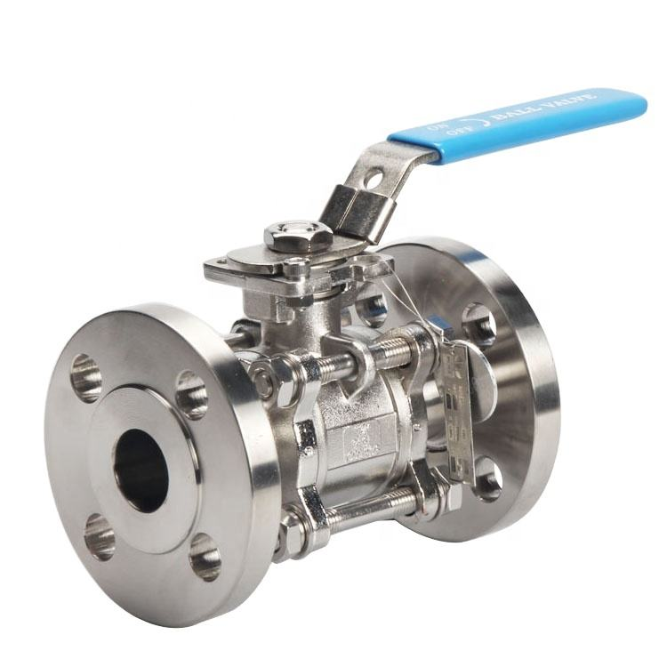 RF Sanitary Stainless Steel 304 316L Manual Flanged Connection 3PC Ball Valve