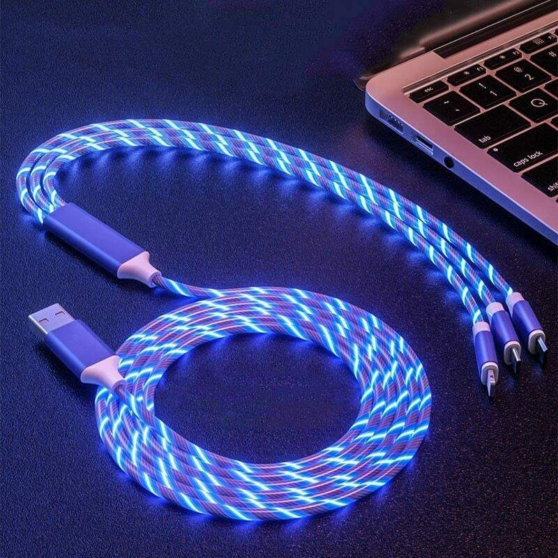 3in1 LED Flowing Light luminous For iPhone USB Charger Cable Micro USB Type C Charging Cord 8pin Multi Charging