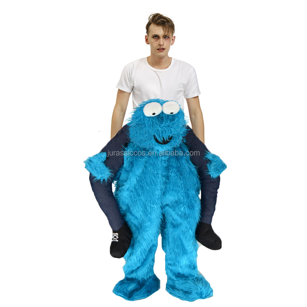 Fancy Dress Up Halloween Cosplay Costume Carry On Me Blue Frog Ride On Mascot For Adult Unisex