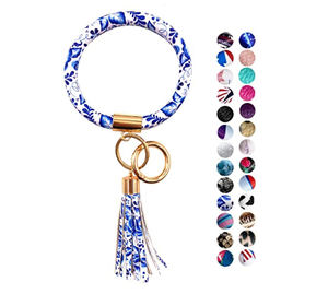 2021 Gifts Clear Round Solid Color Beaded Gold Keychain Wristlet Bracelet Wallet Rainbow With Lip Gloss Pouch Card Holder
