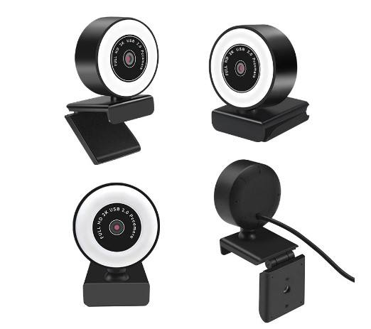 Mini Webcam 1080P 2K Webcam Autofocus Hd Vullen Licht Webcam Met Microfoon Led Ring Licht Pc <span class=keywords><strong>camera</strong></span>