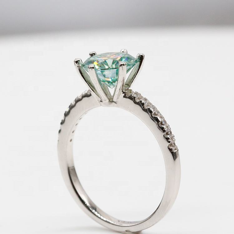 Silver Jewelry 1ct Green Moissanite Ring 925