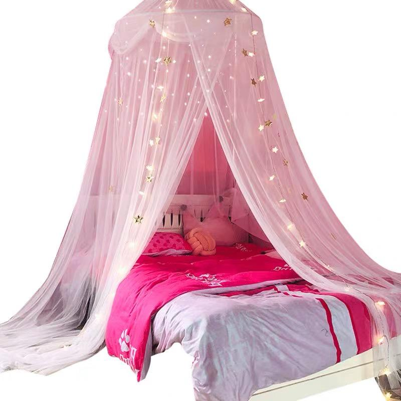 Mosquito Net Canopy Bed Curtains Dome Princess Stars Bed Reading Tent for Girls Kids, Indoor Game House