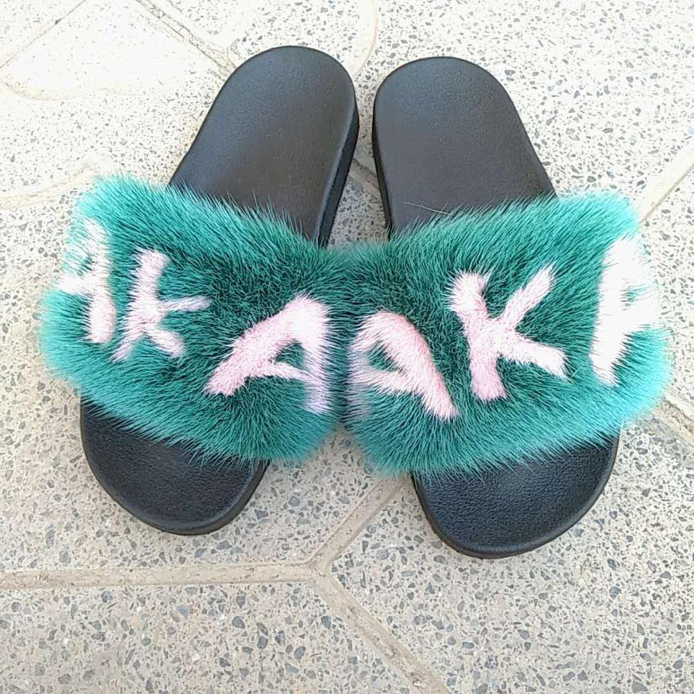 Factory Sell Custom Fluffy Indoor Outdoor Wholesale mink fur slippers fur sandals