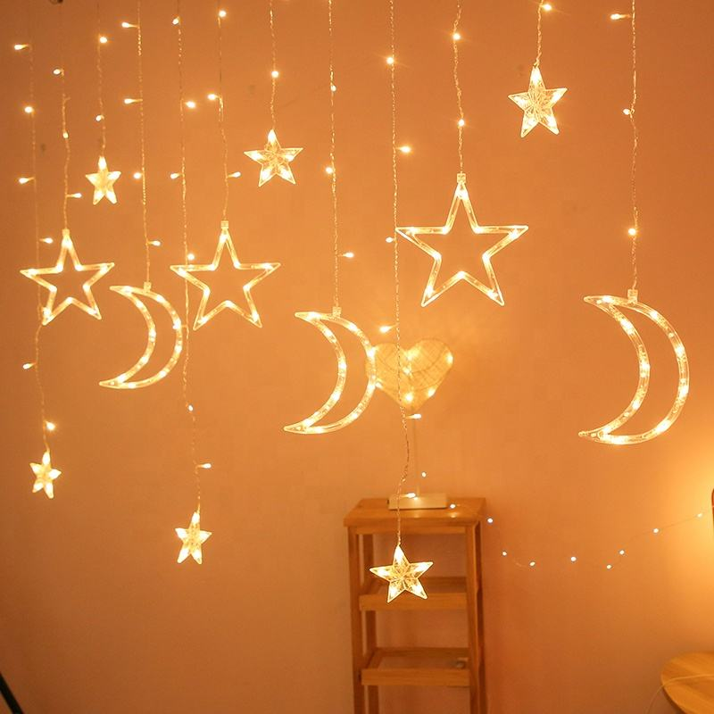Ramadan Twinkle 138 LED Moon Star Lamp String Window Curtain Light For Wedding Party Christmas Decoration